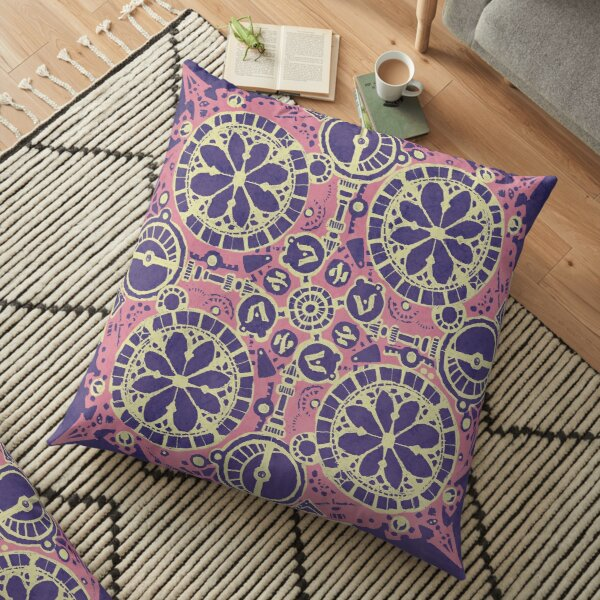 Abstract Inked Machinery, Pink on Purple Floor Pillow
