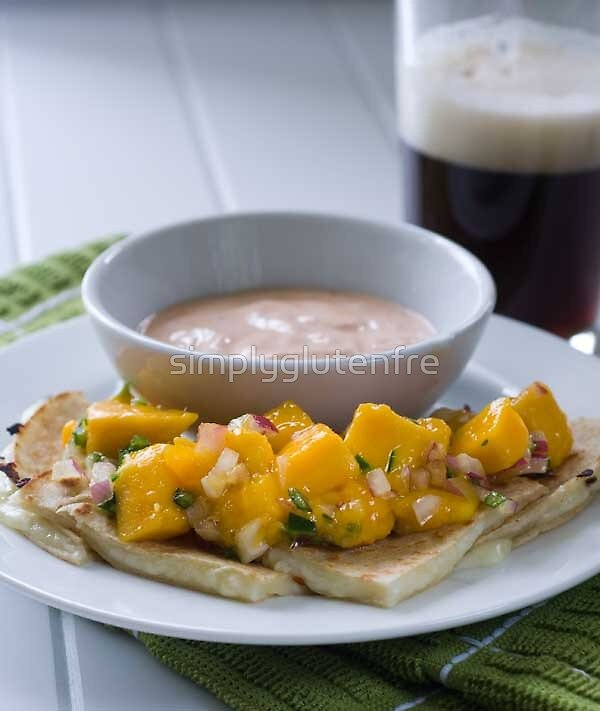 Gluten Free Brie Quesadillas with Mango Salsa and Chipotle Sour Cream Recipe by simplyglutenfre