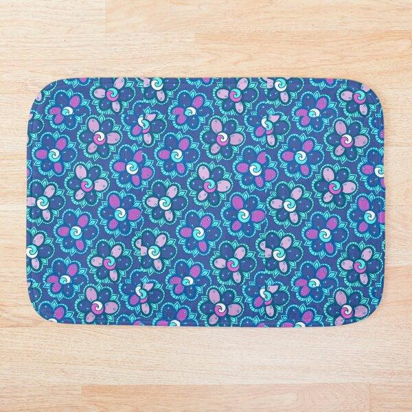 Flower Power - Blue Bath Mat