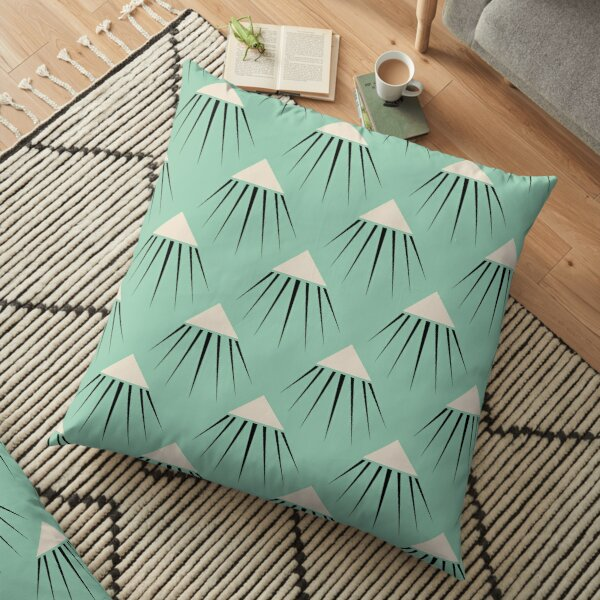 Art Deco Snow Capped Mountain Peaks Floor Pillow