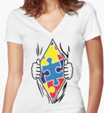 Autism Superhero Women's Fitted V-Neck T-Shirt