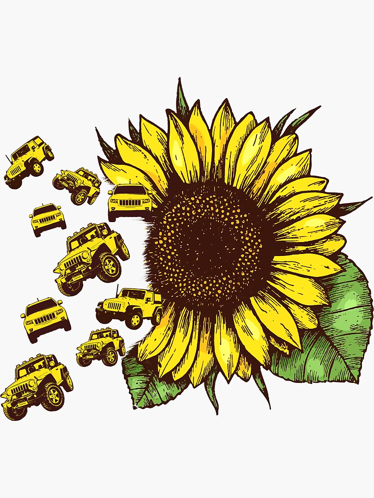 """""""Sunflower jeep"""" Sticker by kaileselina   Redbubble"""