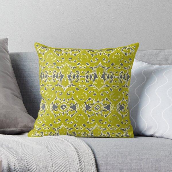 Chartreuse damask Throw Pillow