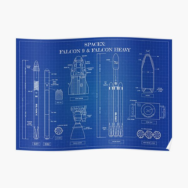 SPACEX: Falcon 9 & Falcon Heavy Blueprint Poster