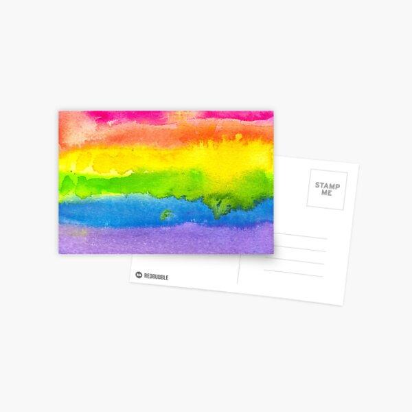 Watercolor Gay Pride Flag Postcard