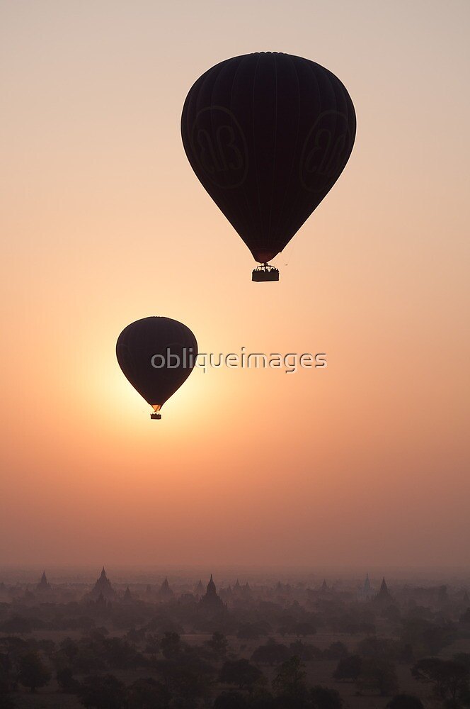 Balloons over Bagan by obliqueimages