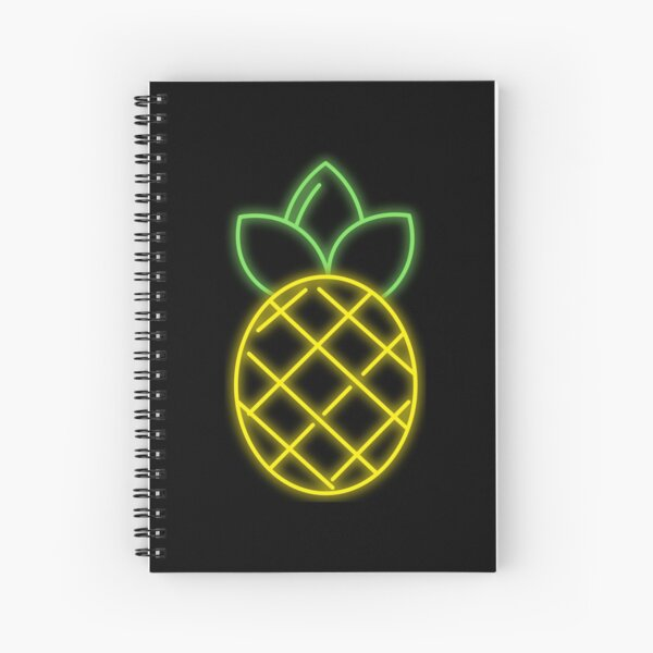 Hawaiian Pineapple Tropical Neon Spiral Notebook Spiral Notebook