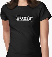 OMG - Hashtag - Black & White Womens Fitted T-Shirt