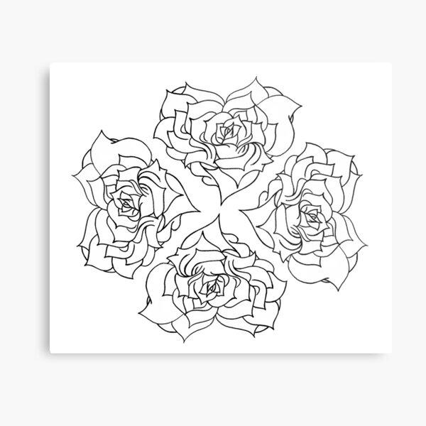 Minimal rose pattern - white Metal Print