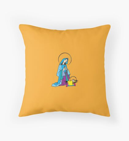 Nativity, Mary and Baby Jesus Christmas Throw Pillow
