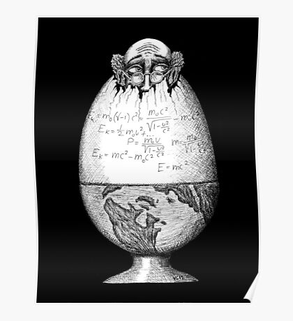 Coming out of Shell surreal pen ink black and white drawing Poster