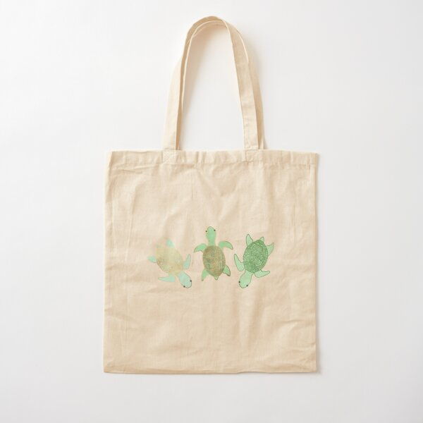 Gilded Jade & Mint Turtles Cotton Tote Bag