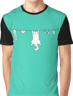 Wet Washing Cat Graphic T-Shirt