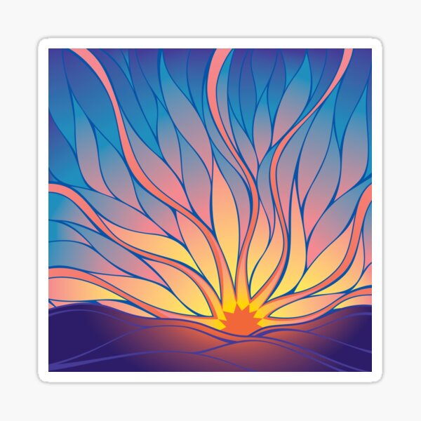 Sunrise, Abstract Psychedelic Art Sticker