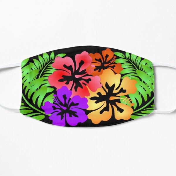 Hawaiian Hibiscus Flower Face Mask - Black Flat Mask