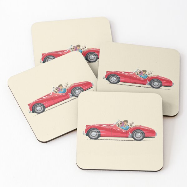 Triumph TR3 in Signal Red & extra passengers in rear! Coasters (Set of 4)