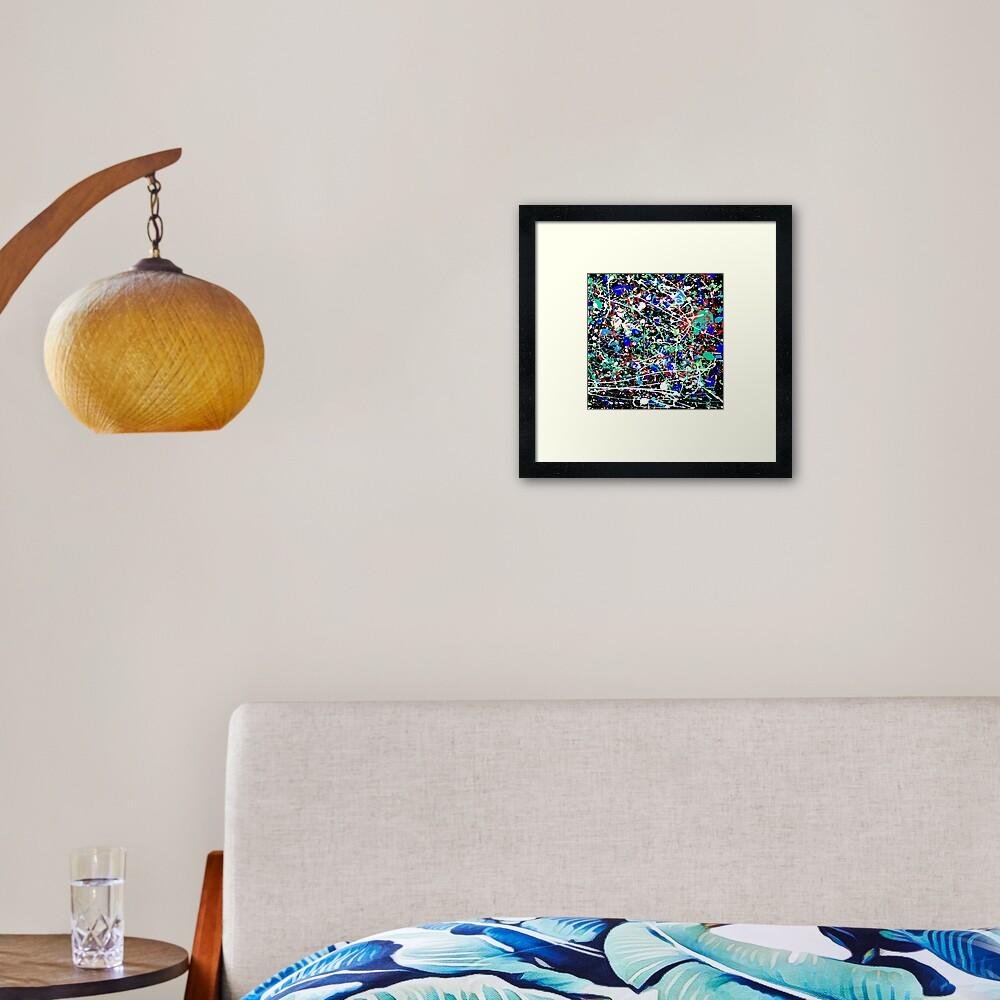 mijumi Pollock 80's Style Blue Hues Framed Art Print