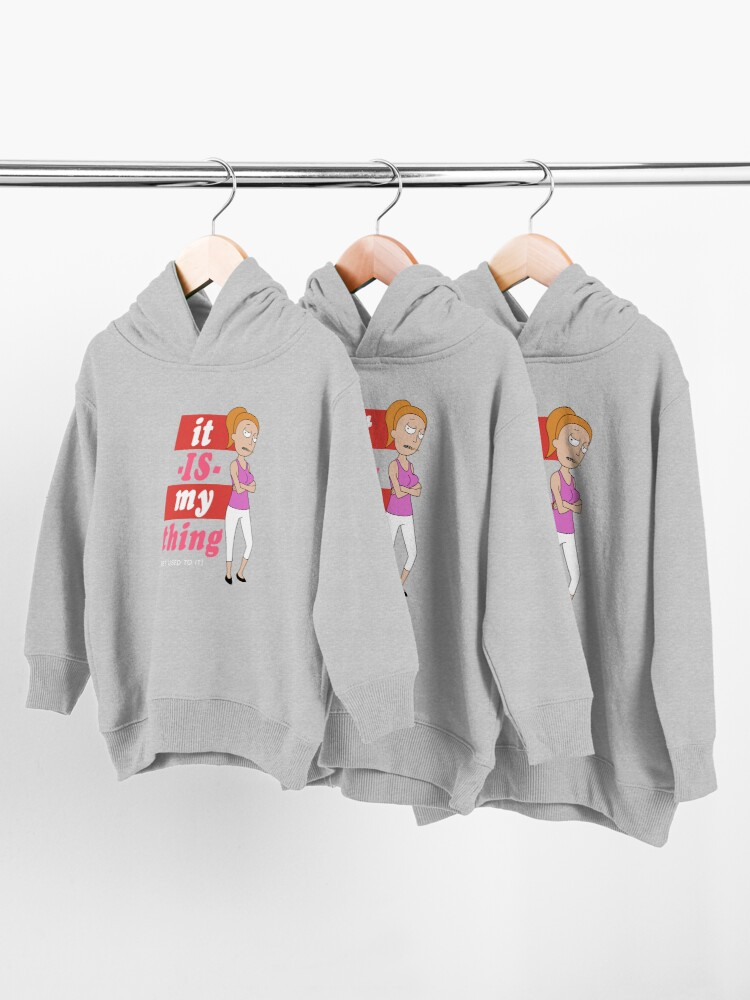 Alternate view of Summer 'it IS my thing' red on dark Toddler Pullover Hoodie