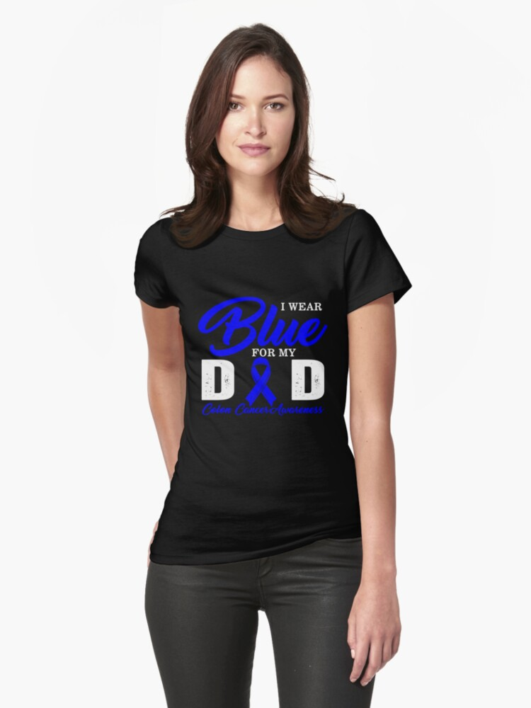 Coloncancerai Wear Blue For My Dad Colon Cancer Awareness Blue Ribbon Heart Love Daughter Son Support Giftw T Shirt By Sifoustore Redbubble
