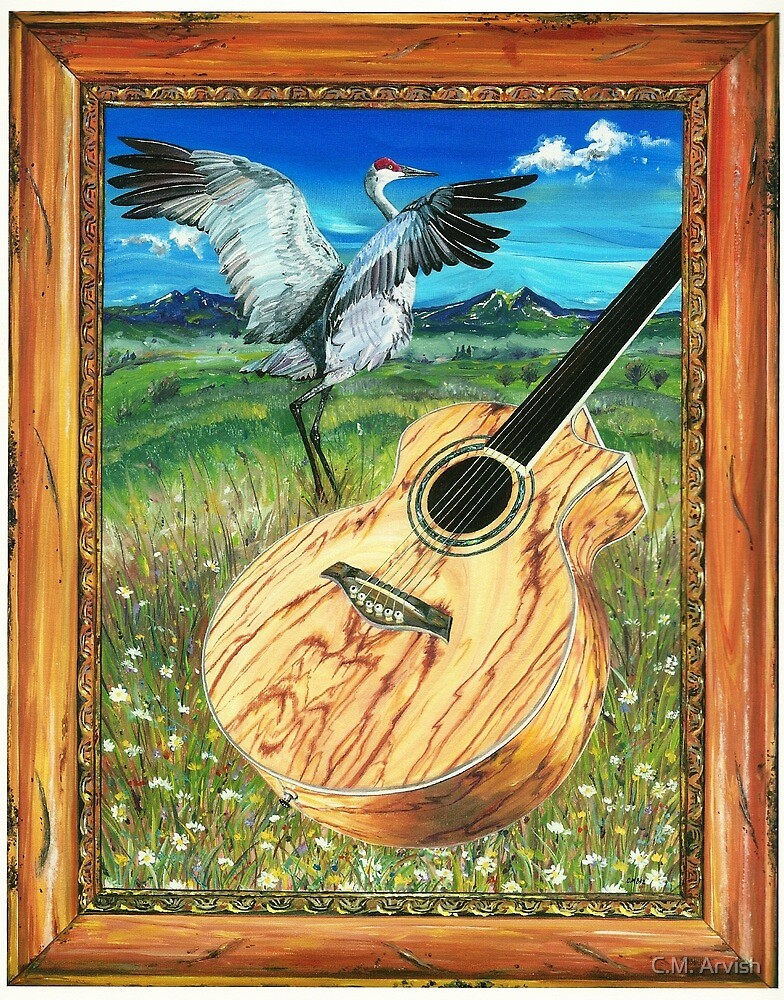 Sandhill crane with acoustic guitar  by Carrie Malia  Budlong
