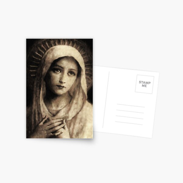 Vintage Virgin Mary Painting Postcard