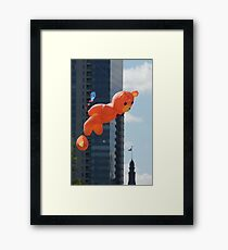 Flying Bear Watches Over City of Milwaukee Framed Print