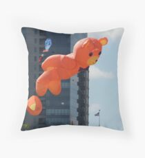Flying Bear Watches Over City of Milwaukee Throw Pillow