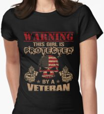 This Girl is Protected by a VETERAN Womens Fitted T-Shirt