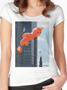 Flying Bear Watches Over City of Milwaukee Women's Fitted Scoop T-Shirt