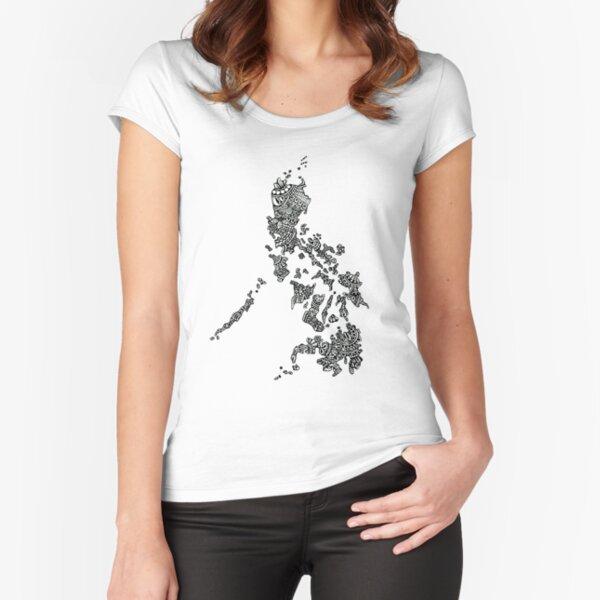 halb-philippinisch Tailliertes Rundhals-Shirt