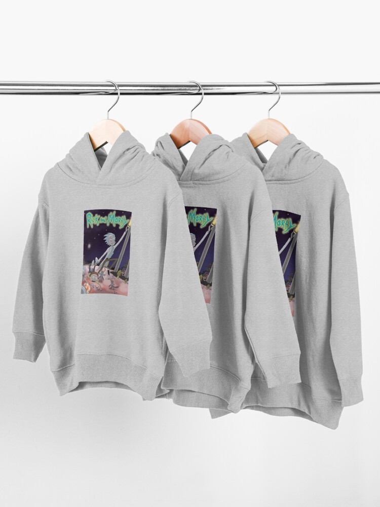 Alternate view of Rick and Morty mushroom world scene on white Toddler Pullover Hoodie