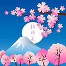 Mt Fuji Cherry Blossoms Spring Japan Night Sakura by Beverly Claire Kaiya