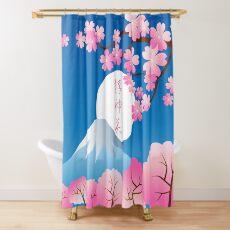 Mt Fuji Cherry Blossoms Spring Japan Night Sakura Shower Curtain