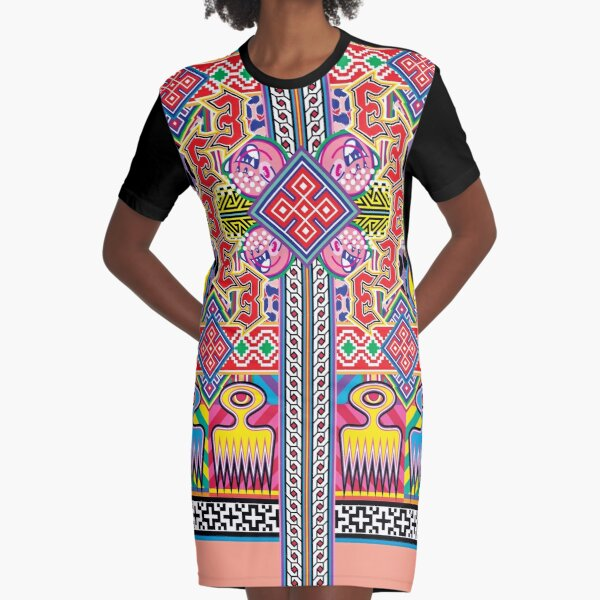 Duafe, Folklore Design with Lucky Number, Angry Emoji and African Symbols and Oriental Ornaments Graphic T-Shirt Dress