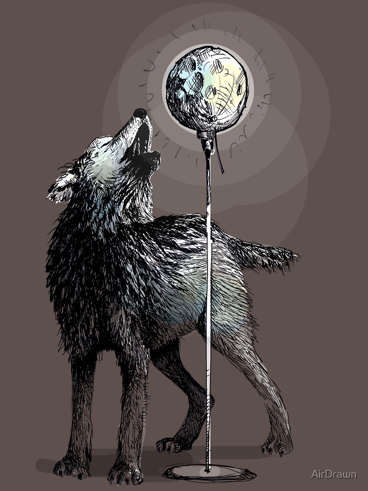 Howling at the moon by AirDrawn