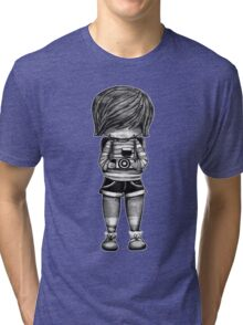 Smile Baby Photographer black and white Tri-blend T-Shirt