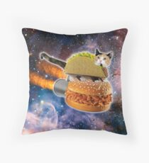 Taco Cat In Space Throw Pillow