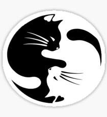 Ying yang cat (white) Sticker