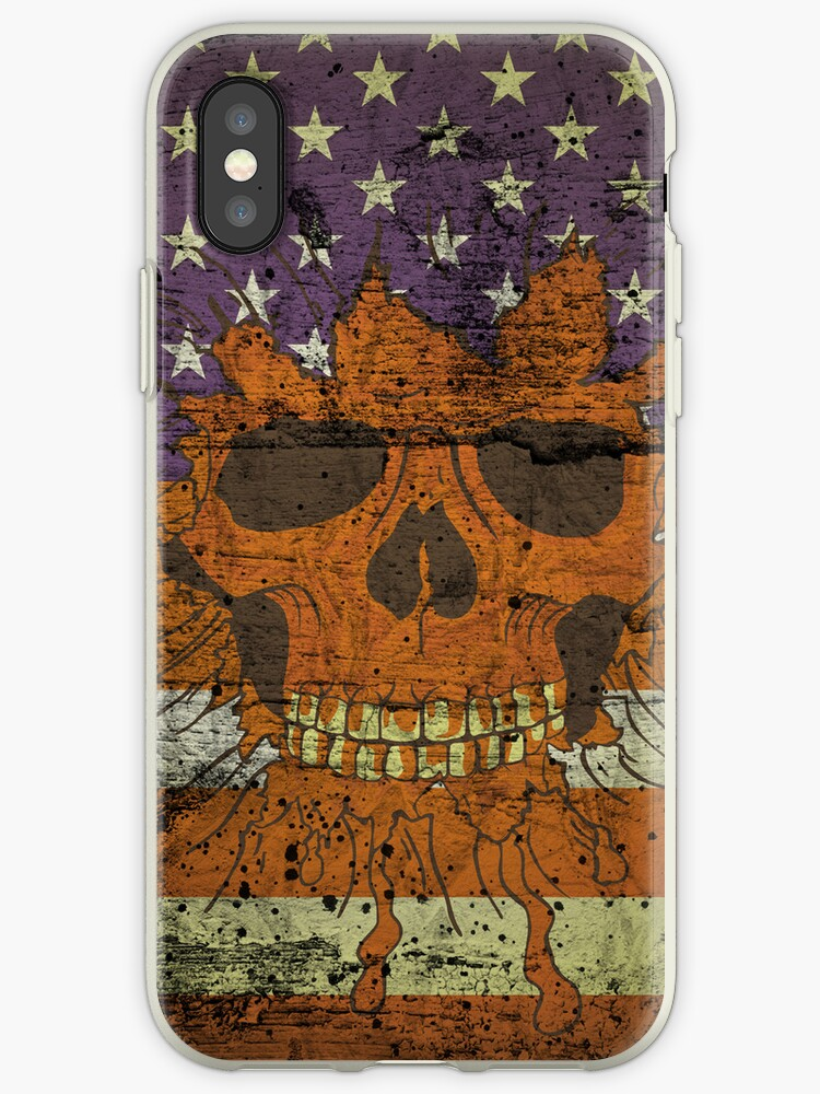 American Patriotic Skull On Gunge Wall Flag iPhone 5 Case / iPhone 4 Case  / Samsung Galaxy Cases  by CroDesign