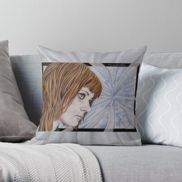 Fracture: Original colour pencil drawing by Dean Sidwell Throw Pillow