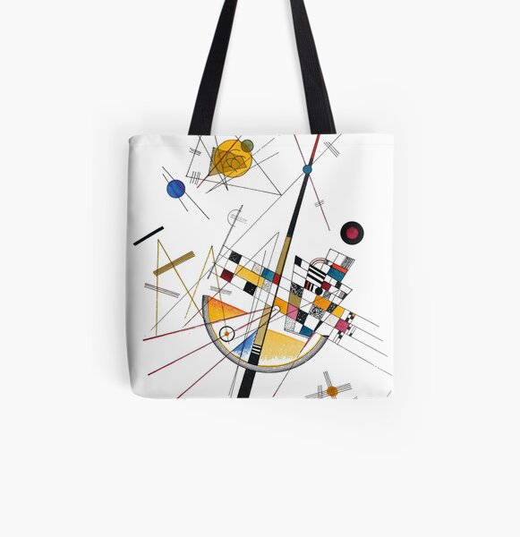 Kandinsky Delicate Tension No. 85, 1923 Artwork Reproduction, Design for Posters, Prints, Tshirts, Men, Women, Kids, Youth All Over Print Tote Bag