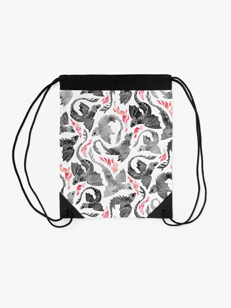 Alternate view of Dragon fire greys & blacks Drawstring Bag
