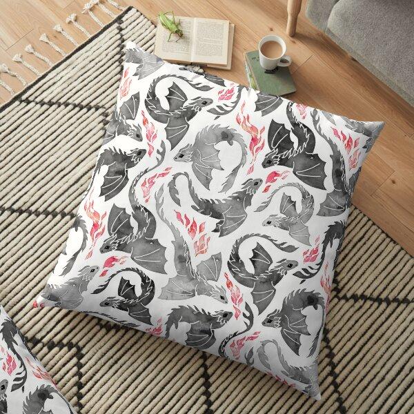 Dragon fire greys & blacks Floor Pillow