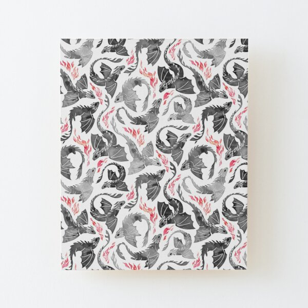 Dragon fire greys & blacks Wood Mounted Print