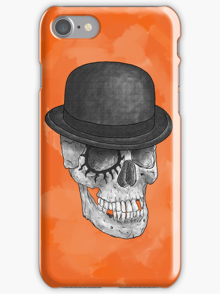 Clockskull orange - iPhone case by Heretic