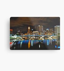 Columbus skyline at night - Columbus, Ohio Metal Print