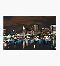 Columbus skyline at night - Columbus, Ohio Photographic Print