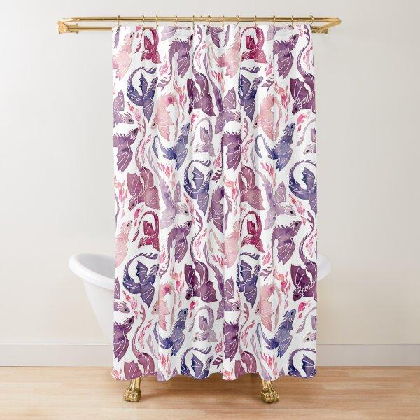 Dragón fuego rosa y morado Cortina de ducha