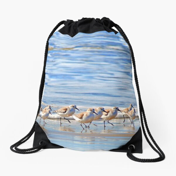 We're following the leader... Sandpipers in Goleta Beach California Drawstring Bag