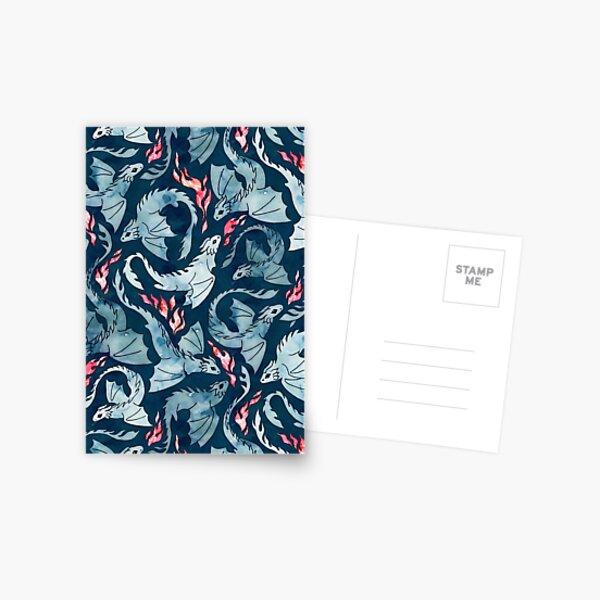in blauem und rotem Aquarell auf einem dunkelblauen Hintergrund.  Postkarte